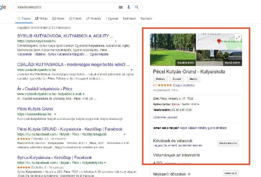 Google cégem adatai a keresési találatokban