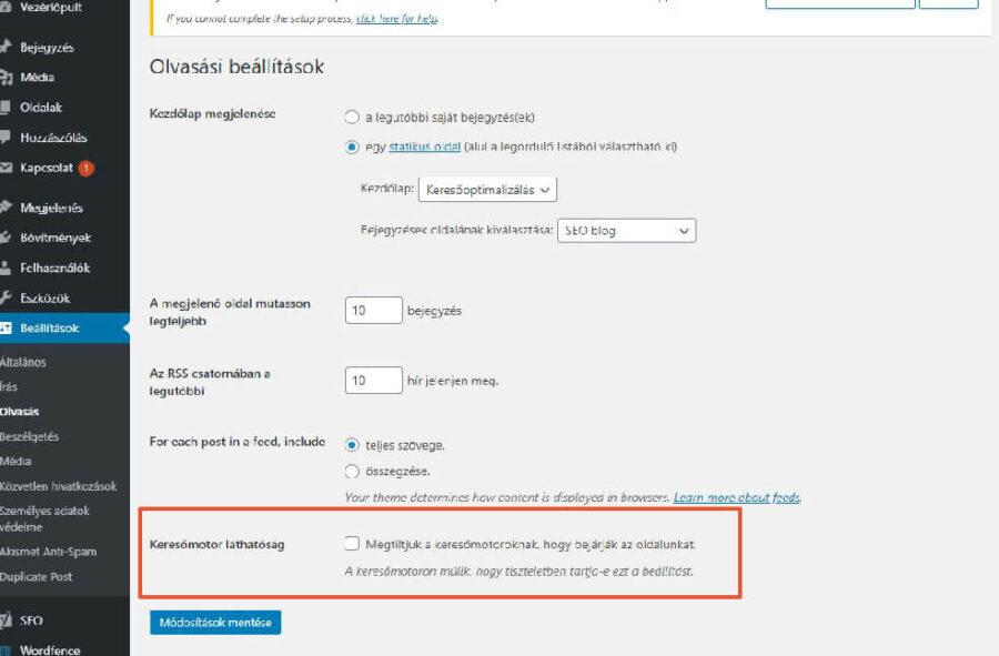 WordPress-ben könnyen engedélyezhetjük a weboldalunk indexelését